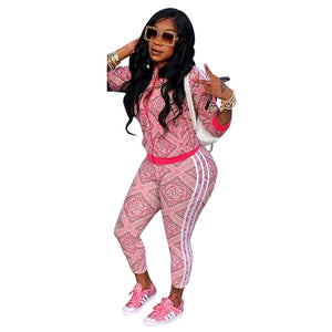 Floral Printed Sexy 2 Piece Sweat Suits Female Clothes Long Sleeve Front Zipper Coat Tops+Side Striped Bodycon Pant Tracksuit - DivaJean