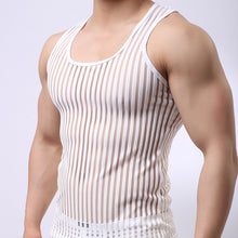 Load image into Gallery viewer, Summer Breathable Cool Mens Muscle Tank Top Sexy Transparent Stripe Mesh Singlet Home Lounge Sleep Wear Vest Sleeveless Tees - DivaJean