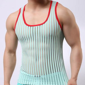 Summer Breathable Cool Mens Muscle Tank Top Sexy Transparent Stripe Mesh Singlet Home Lounge Sleep Wear Vest Sleeveless Tees - DivaJean