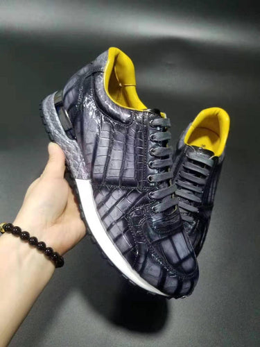 100% Genuine real crocodile skin men shoe matt mixed colors crocodile belly skin men fashion sport leisure shoe - DivaJean