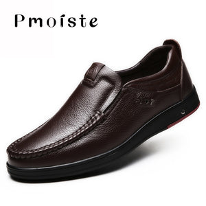 2020 New Real Leather Men's Casual Shoes Flats Formal Dress Shoes Nonslip Slip on Black Mens Loafers Breathable Male Footwear - DivaJean