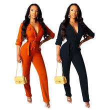 Load image into Gallery viewer, Elegant Long Womens Overalls Casual Long Sleeve Jumpsuit Rompers Autumn Solid Belt Slim Long Pants Trousers Streetwear - DivaJean