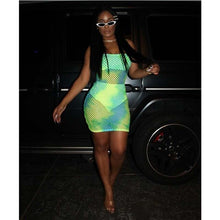 Load image into Gallery viewer, ANJAMANOR Neon Green Pink Fishnet Sexy Dress Women Party Night Out Club Wear Summer 2019 Fitted Mini Bodycon Dresses D37-AB09 - DivaJean