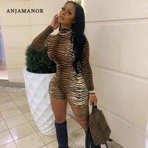 ANJAMANOR Cheetah Print Sexy Rompers Playsuit Fall Clothes for Women Clubwear High Neck Long Sleeve Bodycon Jumpsuit D83-I62 - DivaJean
