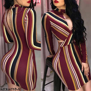 Sexy Bodycon Party Dress Women Slim Fit Breast Open Halter Pencil Mini Dresses Striped Evening Club Wear Dresses - DivaJean