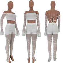Load image into Gallery viewer, Sexy Women Two Pieces Set Sheer Mesh Pleating Flare Sleeve Off Shoulder See Through Crop Top + Long Pants Clubwear Outfit - DivaJean