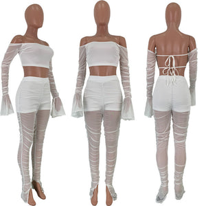 Sexy Women Two Pieces Set Sheer Mesh Pleating Flare Sleeve Off Shoulder See Through Crop Top + Long Pants Clubwear Outfit - DivaJean