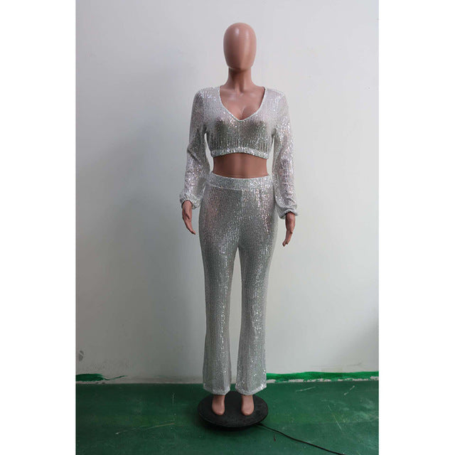 Sexy V-neck Puff Sleeve Set Short Crop Top + Long Wide Pants Silver White Color Party Night Pants Suit Women 2 Pieces Set - DivaJean