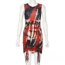 Load image into Gallery viewer, Spring Summer Party Dress 2020 New Print Sexy Tie Dye Bodycon Dresses Kylie Jenner One Sleeve Ruched Dress Holiday Wear Feminino - DivaJean