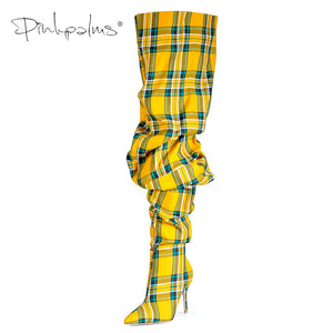 Limited Edition Pink Palms Shoes Women Thigh High Boots in Winter Over the Knee Boots Women High Heels Plaid Boots Ladies - DivaJean