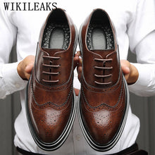 Load image into Gallery viewer, Genuine Leather Shoes Men Formal Shoes Men Oxford Shoes For Men Brogue Shoes Sapato Social Masculino Chaussures Hommes Pointu - DivaJean