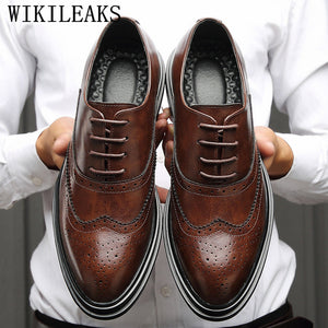 Genuine Leather Shoes Men Formal Shoes Men Oxford Shoes For Men Brogue Shoes Sapato Social Masculino Chaussures Hommes Pointu - DivaJean