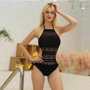 one pieces sexy swimsuit women swimwear female hollow push up black bathing suit pad swimming suit solid bodysuit - DivaJean