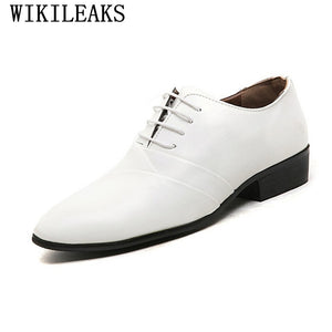 2020 Designer Wedding Shoes Man Leather White Oxford Shoes For Men Formal Mariage Mens Pointed Toe Dress Shoes Sapatos Masculino - DivaJean
