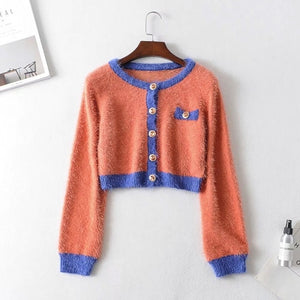 2019 Autumn Retro Shaggy Contrast color Cardigan Korea Single-breasted Button Knitted Sweater Package Hips Mini Skirt 1 Set - DivaJean