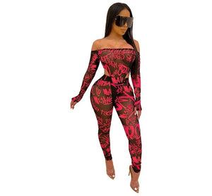 Adogirl Letters Print Sheer Mesh Two Piece Set Women Sexy Off Shoulder Long Finger Sleeve Bodysuit + Pencil Pants Sexy Club Suit - DivaJean