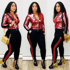 Autumn Winter Sequin 2 Piece Set Women Tracksuit Long Sleeve Jacket Top Pants Suit Streetwear Sparkly Matching Sets Club Outfits - DivaJean