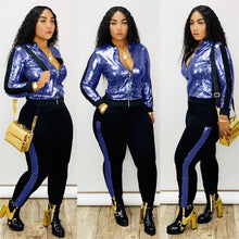 Load image into Gallery viewer, Autumn Winter Sequin 2 Piece Set Women Tracksuit Long Sleeve Jacket Top Pants Suit Streetwear Sparkly Matching Sets Club Outfits - DivaJean