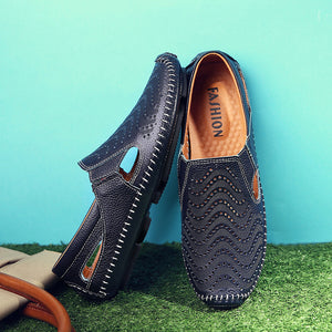 2020 Fashion Moccasins For Men Loafers Summer Walking Breathable Casual Shoes Men Hook&loop Driving Boats Men Shoes Flats - DivaJean