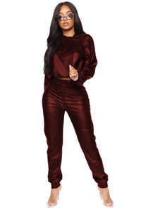 Plus Size 2020 Spring Women Two Pieces Set Pu Leather hooded Crop Top +Long Pants High Waist Club Wear Outfit For Women - DivaJean