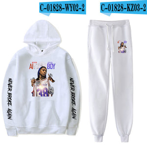 2019 YoungBoy Never Broke Again Fashion Long-sleeved Hooded Sweater 2Pcs Women/Men Tracksuit Hoodies Pants Hip hop - DivaJean