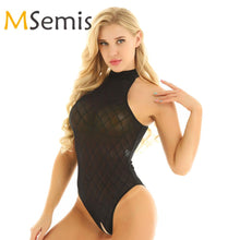 Load image into Gallery viewer, Women's Crotchless Swimsuit Bodysuit See Through Swimwear Mesh High Cut Open Crotch Gymnastics Leotard Bodysuit Bathing Suit - DivaJean