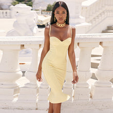 Load image into Gallery viewer, Deer Lady Women Celebrity Bandage Dress 2019 Spaghetti Strap Mermaid Bandage Dress Bodycon Yellow Ruffle Party Dress Sexy Club - DivaJean