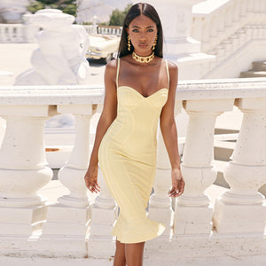 Deer Lady Women Celebrity Bandage Dress 2019 Spaghetti Strap Mermaid Bandage Dress Bodycon Yellow Ruffle Party Dress Sexy Club - DivaJean