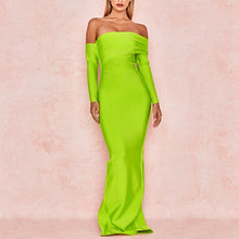 Load image into Gallery viewer, Adyce 2020 New Winter Sexy Women Bandage Dress Vestidos Long Sleeve Yellow Green Off Shoulder Maxi Celebrity Evening Party Dress - DivaJean
