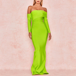 Adyce 2020 New Winter Sexy Women Bandage Dress Vestidos Long Sleeve Yellow Green Off Shoulder Maxi Celebrity Evening Party Dress - DivaJean