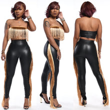 Load image into Gallery viewer, Sexy Strapless Women 2 Pieces Set Tassel PU Leather Crop Top + Long Pants Slinky Bodycon Party Night Clubwear Outfit Stretch - DivaJean