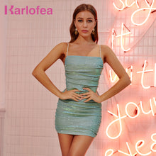 Load image into Gallery viewer, Karlofea New Simple Basic Dress Chic Rhinestone Diamond Strap Ruched Mini Dress Women Daily Outfit Wear Club Party Sparkle Dress - DivaJean