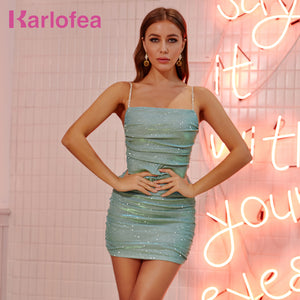 Karlofea New Simple Basic Dress Chic Rhinestone Diamond Strap Ruched Mini Dress Women Daily Outfit Wear Club Party Sparkle Dress - DivaJean