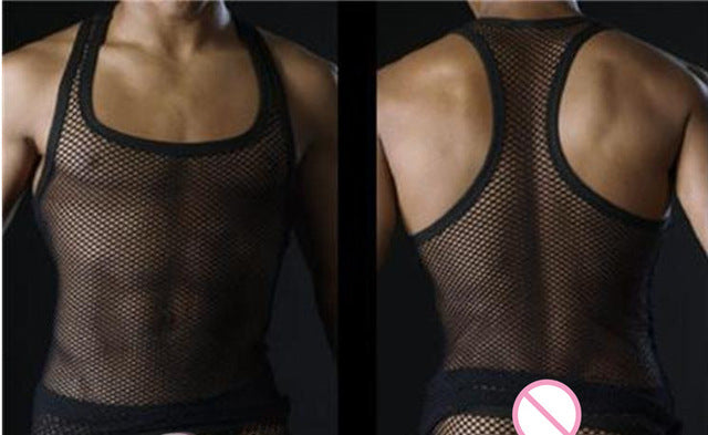 Sexy Men Tank Tops Transparent Mesh Singlet Underwear Gay Exotic Home Lounge Sleep Wear Undershirts Summer Vest - DivaJean