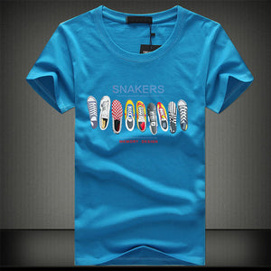 Summer Fashion Men T-shirt Short Sleeve Cotton Print One Piece Shoe Casual Male O Neck T Shirt Casual Funny Japanese Tee Tops - DivaJean