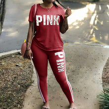 Load image into Gallery viewer, Plus Size 2 Piece Set Woman Tracksuit Casual PINK Letter Print Sexy Sweat Suits Short Sleeve Tee Shirt Top Skinny Pants XXXL - DivaJean