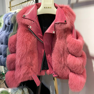 Maylofuer Real Fox Fur Coat with Genuine Sheepskin Leather Jacket Long Sleeves 100% Natural Fox Fur Coats for Women Hot Sale - DivaJean