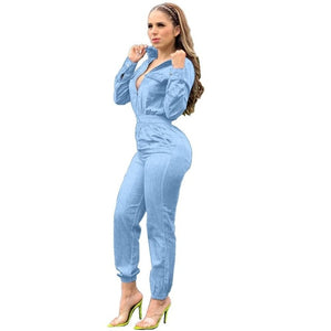 Adogirl Spring Women Long Sleeve Jeans Denim Jumpsuit Casual Zipper Up Deep V Neck Jeans Rompers Sexy Streetwear Outfit Overalls - DivaJean