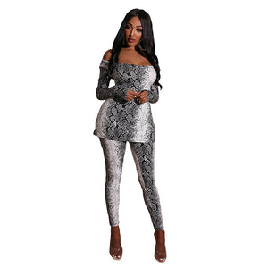 Casual Women Suit Print Snake Long Sleeve O-neck Crop Top + Pants Fashion Two Pieces Set Tracksuit Women Clubwear - DivaJean