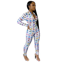 Load image into Gallery viewer, Echoine Long Sleeve Skinny Jumpsuit Women Rompers Autumn combinaison femme Zipper Print Playsuit Bodysuit Party Club Outfit - DivaJean