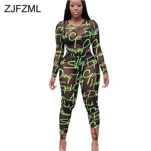 Neon Letter Print Mesh Spliced Two Piece Set Women Long Sleeve See Through Bodysuit And  Skinny Pants Sweat Suits 2 Piece Outfit - DivaJean