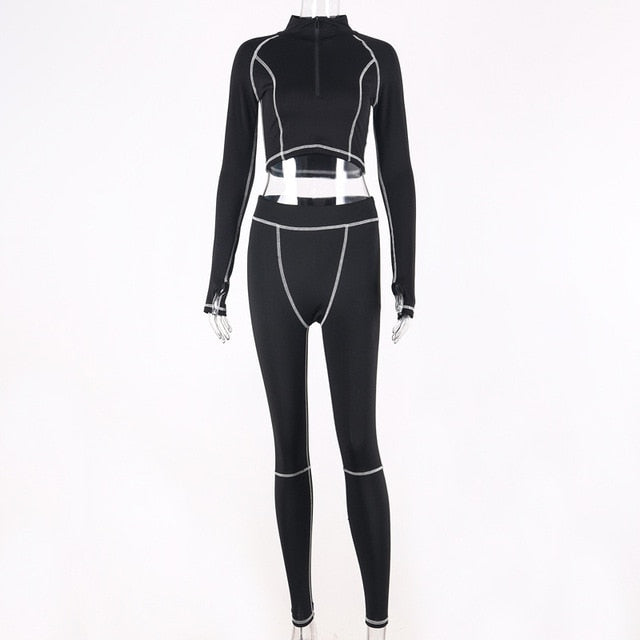 Simenual Fitness Casual Active Wear 2 Piece Set Women Sporty Workout Zipper Tracksuits Long Sleeve Top And Leggings Sets Fashion - DivaJean