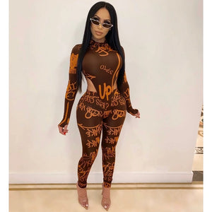 ZKYZWX Sexy 2 Piece Set Women 2020 Spring Clothing Rompers Bodysuit Top Pant Sweat Suits Matching Sets Two Piece Club Outfits - DivaJean