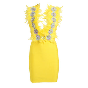 New Fashion Sexy Women's Yellow Bandage Dress Deep V-neck Spaghetti Halter Feather Beaded Bodycon Club Party Dress Vestidos 2019 - DivaJean