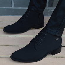 Load image into Gallery viewer, Autumn Winter Men Boots Breathable Pointed Toe Business Leather Boots Fashion Canvas High-Top Men Shoes Casual Zapatos Hombre - DivaJean