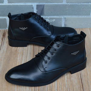 Autumn Winter Men Boots Breathable Pointed Toe Business Leather Boots Fashion Canvas High-Top Men Shoes Casual Zapatos Hombre - DivaJean