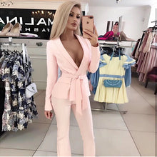 Load image into Gallery viewer, 2020 spring fashion sexy new women's suit red white set belt jacket & trousers 2 two-piece office celebrity party pants set - DivaJean