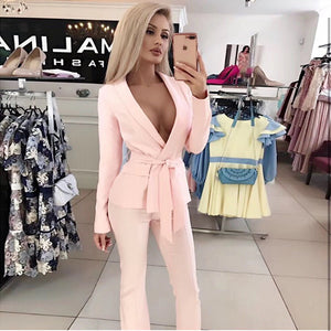 2020 spring fashion sexy new women's suit red white set belt jacket & trousers 2 two-piece office celebrity party pants set - DivaJean