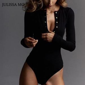 JULISSA MO Sexy V Neck Knitted Bodysuit Women Black Long Sleeve Buttons Rompers Womens Jumpsuit 2018 Casual One-pieces Bodysuits - DivaJean