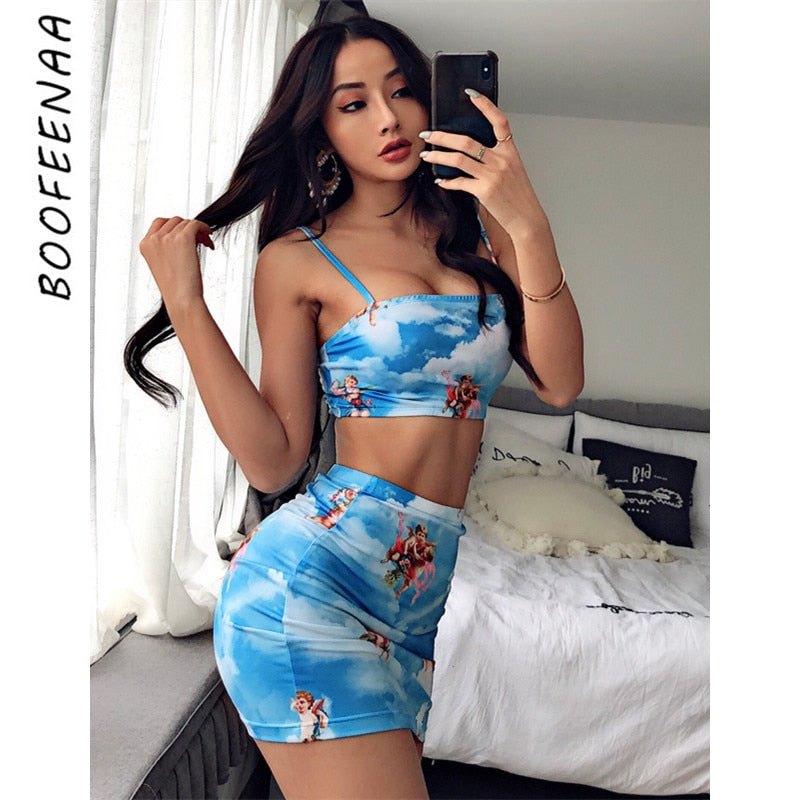 BOOFEENAA Angel Printed Sexy Two Piece Set Crop Top and Skirt Woman Fashion 2020 Summer Cute Matching Sets Club Outfits C76-AA10 - DivaJean